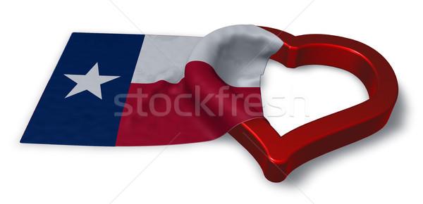 Bayrak Teksas kalp simge 3D Stok fotoğraf © drizzd