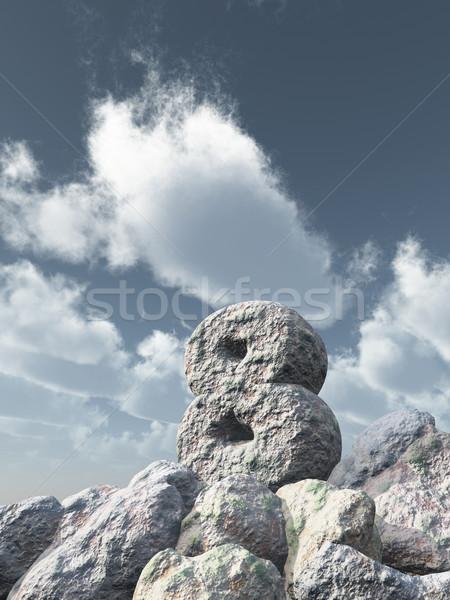 Nombre huit Rock nuageux ciel bleu 3d illustration Photo stock © drizzd