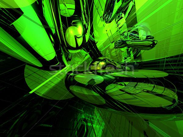 Rave abstract futuristische neon licht 3d illustration Stockfoto © drizzd