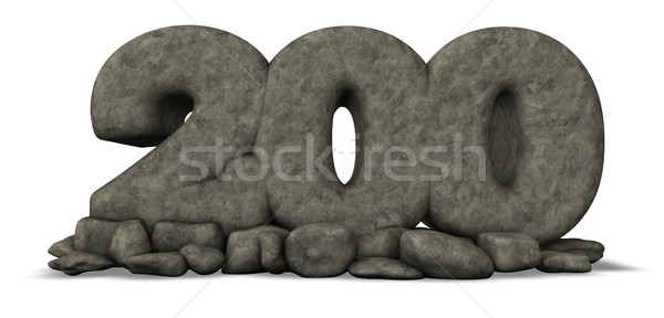 stone number two hundred on white background - 3d rendering Stock photo © drizzd
