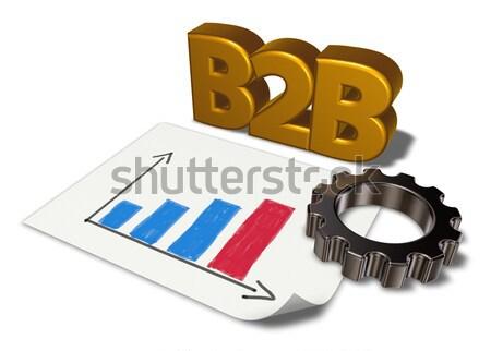 B2b тег Gear колесо 3D Сток-фото © drizzd