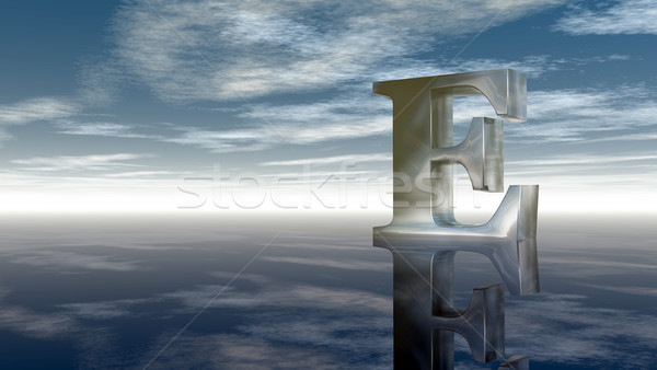 metal uppercase letter e under cloudy sky - 3d rendering Stock photo © drizzd