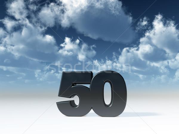 пятьдесят числа Blue Sky 3d иллюстрации вечеринка рождения Сток-фото © drizzd