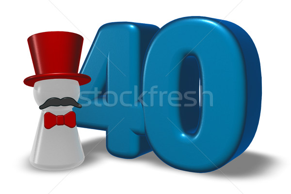 Nombre quarante pion chapeau barbe 3D Photo stock © drizzd
