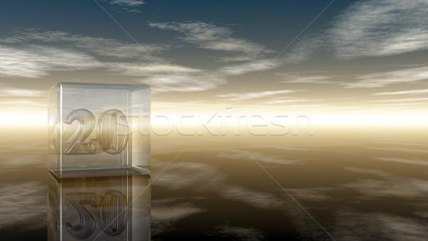 Foto stock: Número · vinte · vidro · cubo · nublado · céu