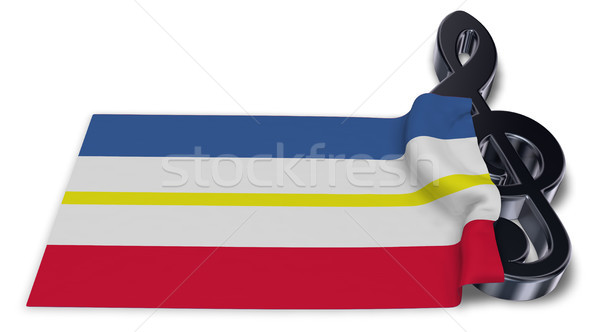clef symbol and flag of mecklenburg-vorpommern - 3d rendering Stock photo © drizzd