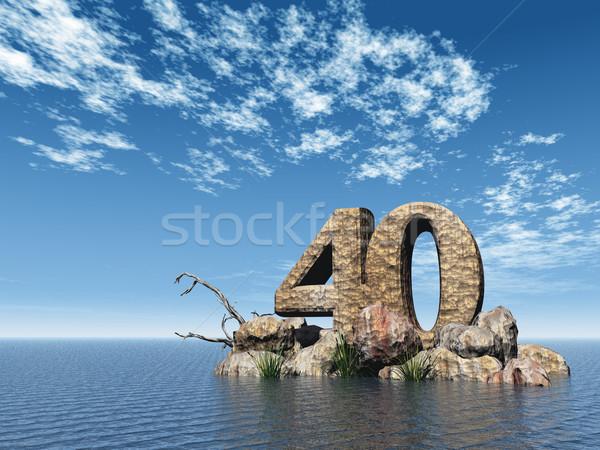 Pedra quarenta número 40 oceano ilustração 3d Foto stock © drizzd