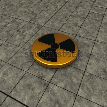 Jądrowej symbol kamień płytek 3d ilustracji technologii Zdjęcia stock © drizzd
