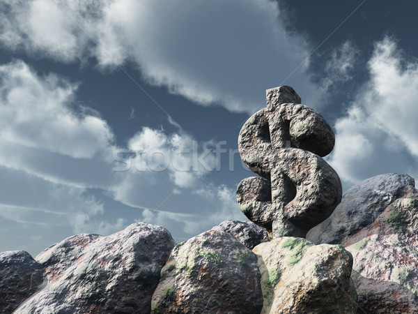 Dollar Rock nuageux ciel bleu 3d illustration affaires Photo stock © drizzd