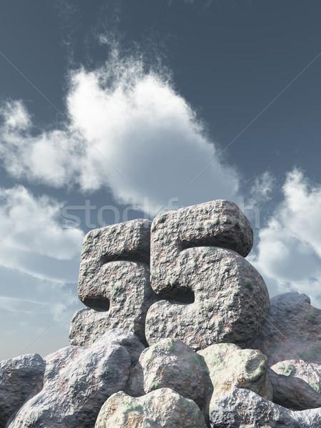 Número cincuenta cinco rock nublado cielo azul Foto stock © drizzd