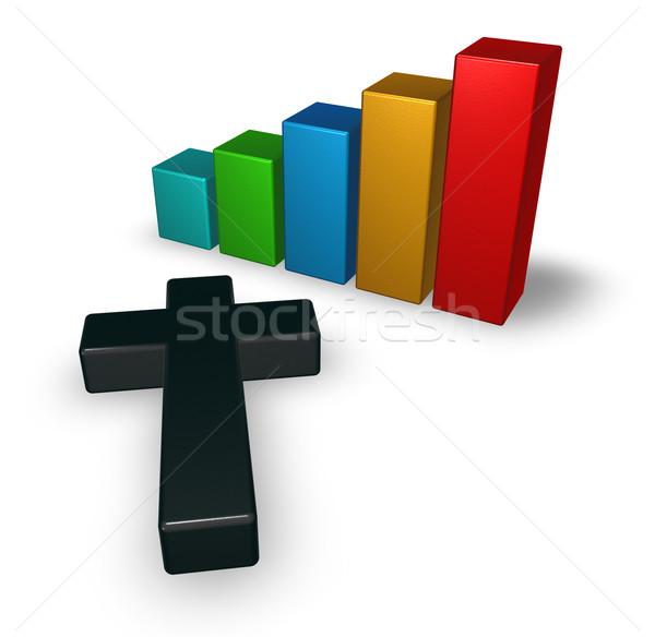 Gráfico de negócio cristão atravessar 3D Foto stock © drizzd