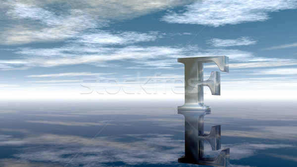 metal uppercase letter f under cloudy sky - 3d rendering Stock photo © drizzd