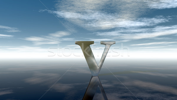 metal uppercase letter v under cloudy sky - 3d rendering Stock photo © drizzd
