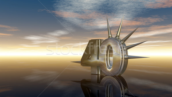 number fourty with prickles under cloudy sky - 3d illustration Stock photo © drizzd