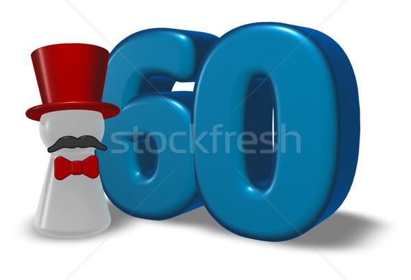 Aantal zestig pion hoed baard 3D Stockfoto © drizzd