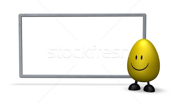 Stockfoto: Pasen · easter · egg · witte · teken · 3d · illustration