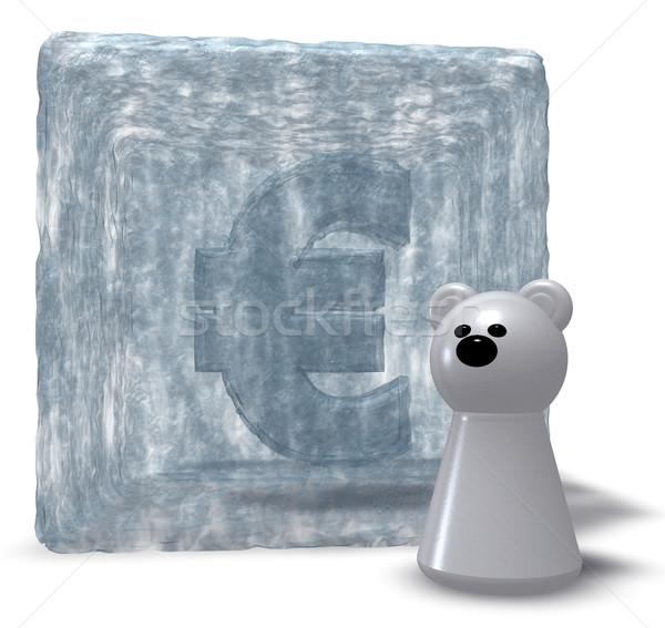 Hielo euros símbolo blanco tener peón Foto stock © drizzd