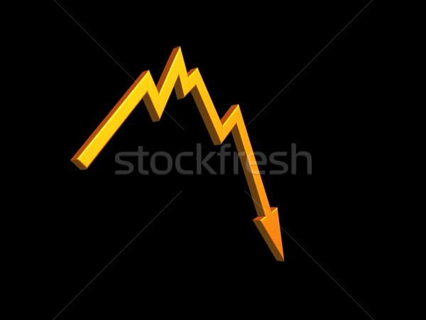 Rossz hírek üzleti grafikon 3d illusztráció pénz piac nyíl Stock fotó © drizzd
