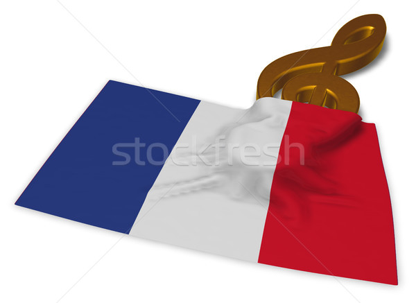 clef symbol and flag of france - 3d rendering Stock photo © drizzd