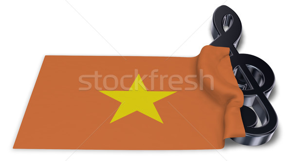 clef symbol symbol and flag of vietnam - 3d rendering Stock photo © drizzd