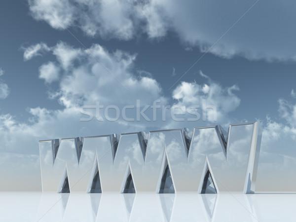 Www harfler bulutlu mavi gökyüzü 3d illustration bilgisayar Stok fotoğraf © drizzd