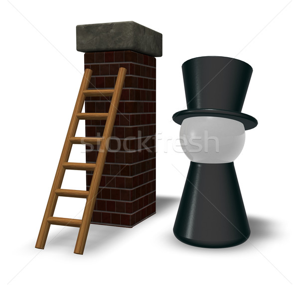 Chaminé escada ilustração 3d preto pote Foto stock © drizzd