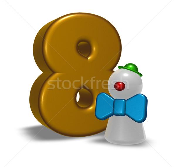 числа восемь клоуна 3d иллюстрации счастливым весело Сток-фото © drizzd