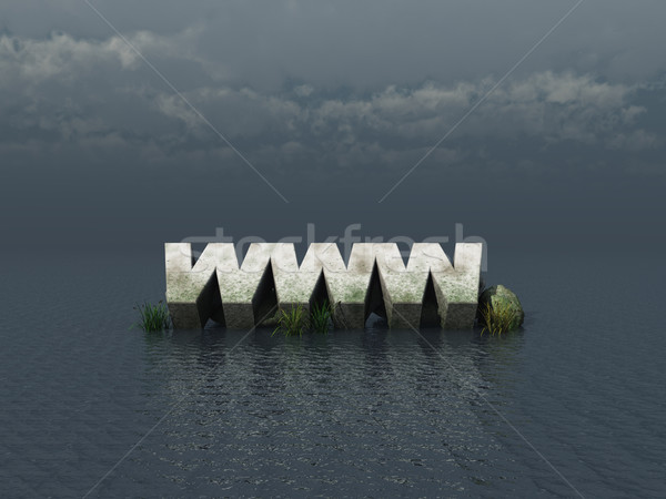 Www océan 3d illustration eau nuages internet Photo stock © drizzd