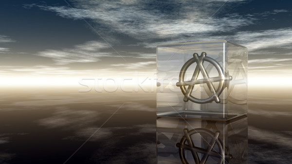 metal anarchy symbol in glass cube - 3d rendering Stock photo © drizzd
