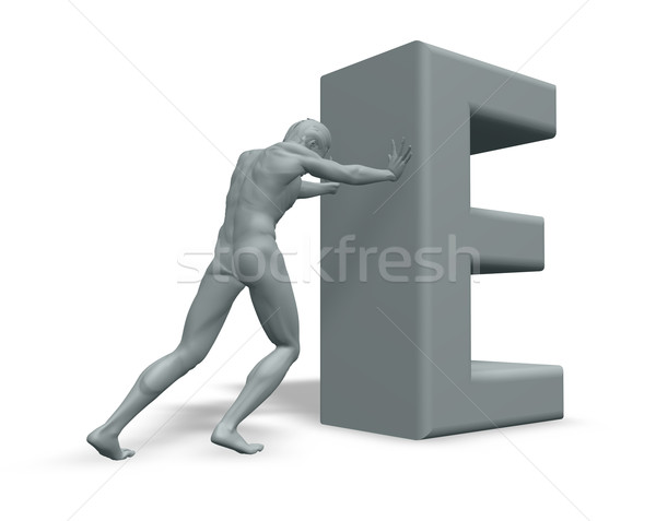 man pushes uppercase letter E Stock photo © drizzd
