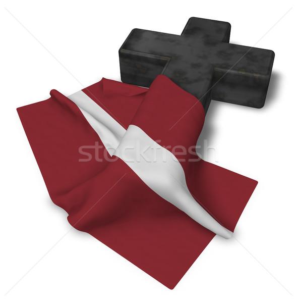 Christelijke kruis vlag 3D kerk Stockfoto © drizzd