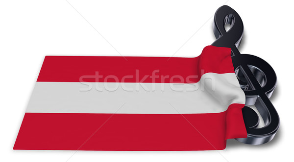 clef symbol and austrian flag - 3d rendering Stock photo © drizzd