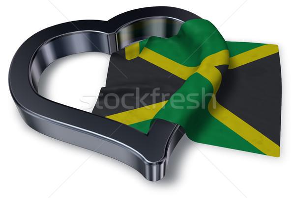 Bayrak Jamaika kalp simge 3D Stok fotoğraf © drizzd