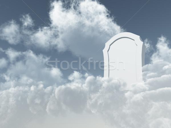 Mennyei sír fehér kő felhős égbolt Stock fotó © drizzd