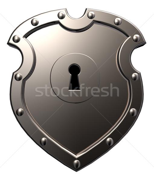 Metal kalkan anahtar deliği beyaz 3d illustration güvenlik Stok fotoğraf © drizzd