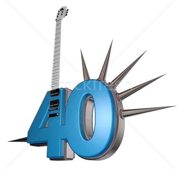 Szám negyven gitár fehér 3d illusztráció fém Stock fotó © drizzd