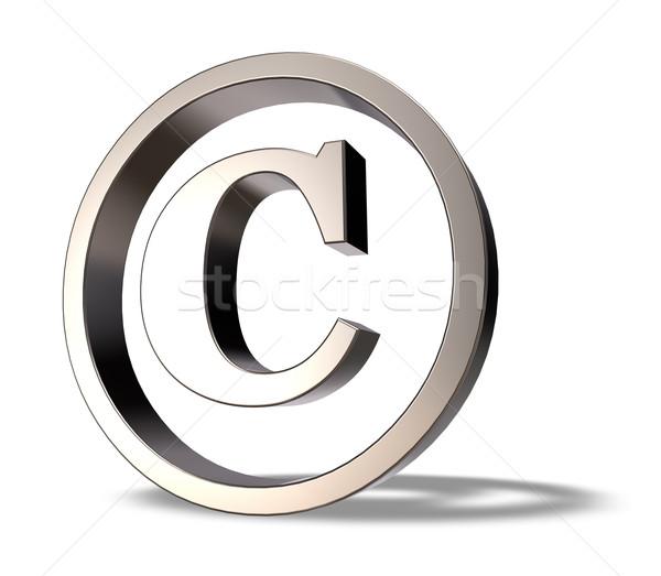 Diritto d'autore simbolo metal bianco illustrazione 3d business Foto d'archivio © drizzd