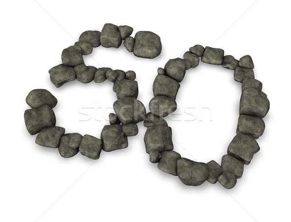 Número cincuenta guijarros 3d piedra aniversario Foto stock © drizzd