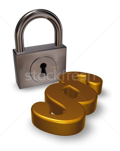 paragraph symbol and padlock - 3d rendering Stock photo © drizzd