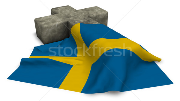 christian cross and flag of sweden - 3d rendering Stock photo © drizzd
