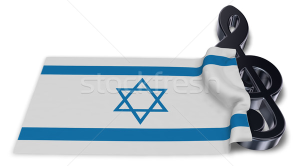 clef symbol symbol and flag of israel - 3d rendering Stock photo © drizzd