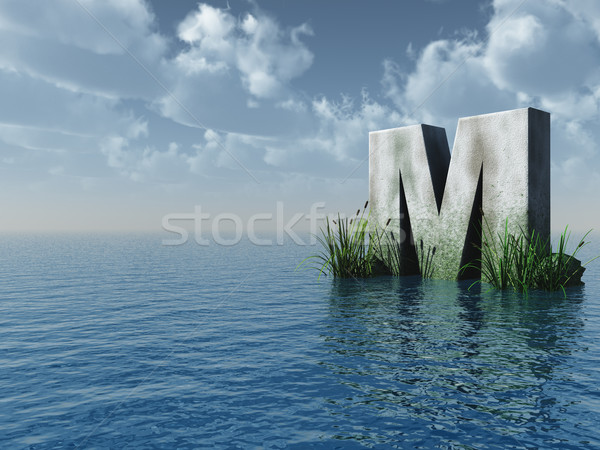 Letter m rock water landschap 3d illustration wolken Stockfoto © drizzd