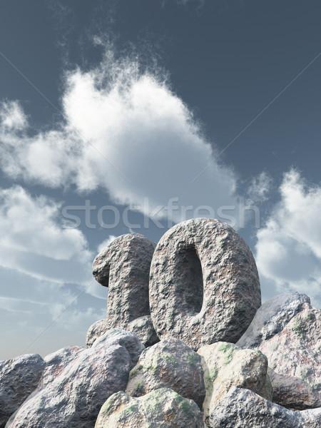 Numara on kaya bulutlu mavi gökyüzü 3d illustration Stok fotoğraf © drizzd