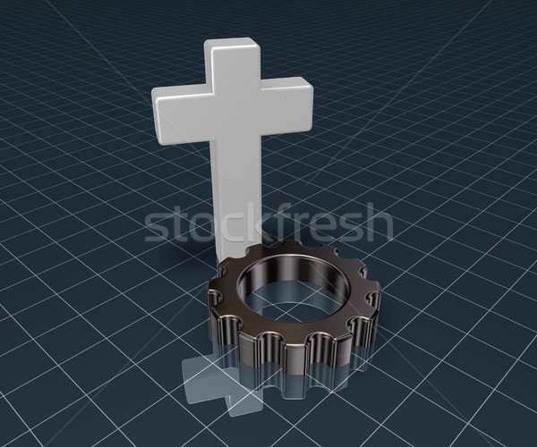 christian cross and gear wheel - 3d rendering Stock photo © drizzd