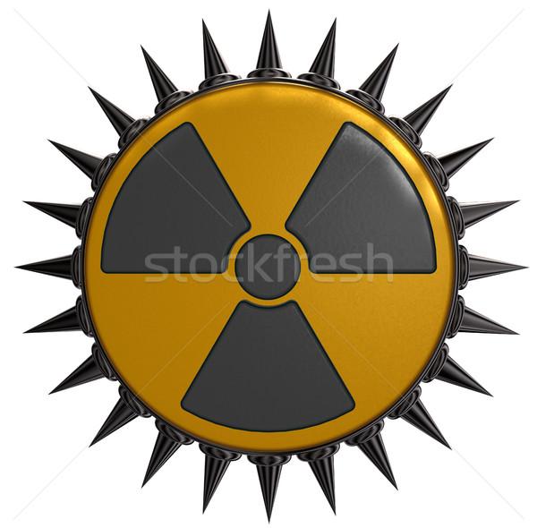 Nukleáris szimbólum fehér 3d illusztráció tudomány ipari Stock fotó © drizzd
