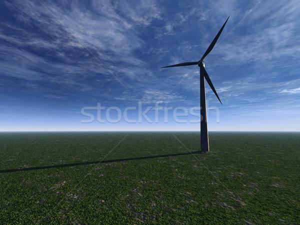 Foto stock: Molino · de · viento · campo · nublado · cielo · 3d · sol
