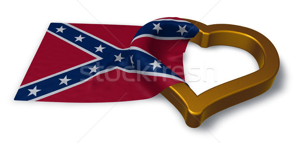 heart symbol and flag of the Confederate States of America - 3d rendering Stock photo © drizzd
