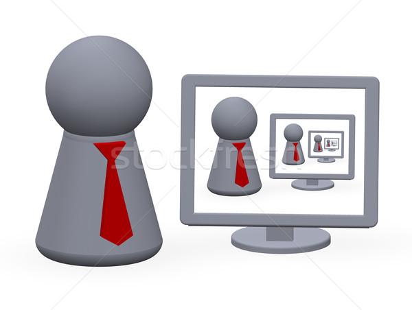 Cijfer Rood stropdas technologie monitor Stockfoto © drizzd