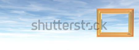 Fotolijstje bewolkt hemel 3d illustration wolken ontwerp Stockfoto © drizzd
