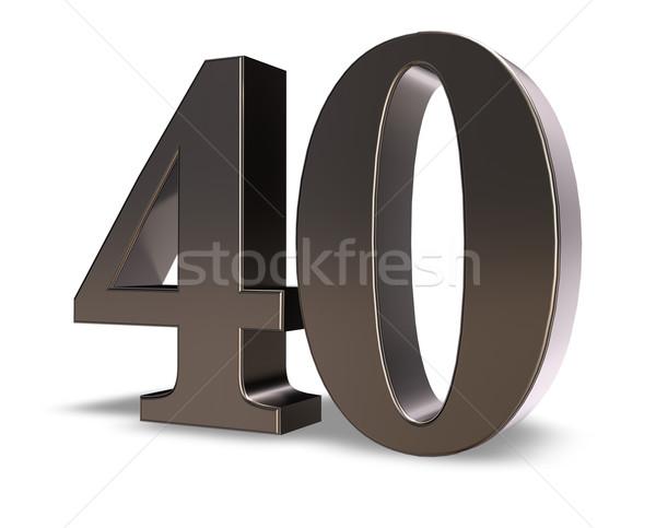 Nombre quarante métal blanche 3d illustration anniversaire Photo stock © drizzd
